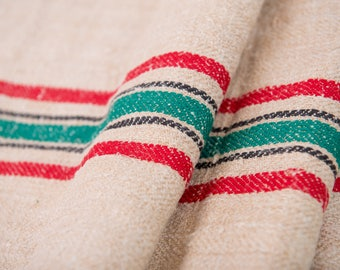 Red Green stripes Fabric, Antique linen ,Grain Sack from Europe, yachting pillow, wedding decoration, pillow, wedding tablerunner