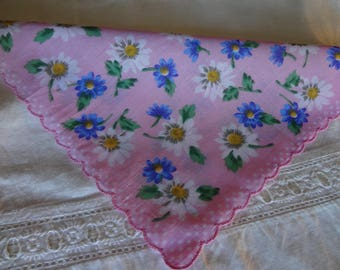 Vintage Linen Blend Hankie Pink with Blue and White Flowers
