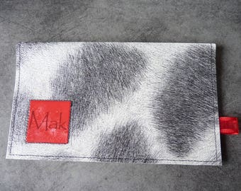 Cow grey Chic pattern checkbook cover