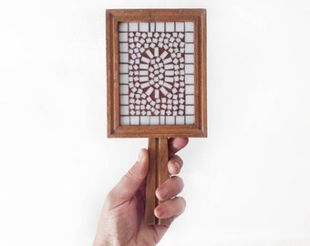 Vintage Hand Mirror Made of Wood and Mosaic