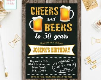 Cheers and Beers Birthday Invitation, Cheers and Beers to 50 years Birthday Invitations, Chalkboard Cheers n Beers Birthday Invite, ANY AGE
