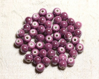 100pc - ceramic porcelain round 6mm purple pink iridescent beads