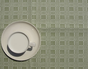 Tablecloth green white checkered Soft cotton or MOISTURE RESISTANT , runner , napkins , curtains , pillows available, great GIFT