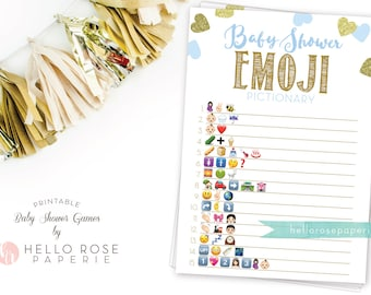 Baby Shower Emoji Pictionary . Blue and Gold Emoji Baby Shower Game . Printable Instant Download . Blue Gold Baby Shower Boy Games