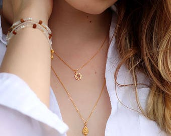 Lakshmi Crystal Necklace, 18k Gold Plated Lakshmi Necklace, Crystal Necklace, Goddess Necklace