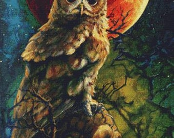 Modern Cross Stitch Kit, Marble Noir, Owl Cross Stitch,  Lesley D McKenzie, Blood Moon, Counted Cross Stitch, Cross Stitch,  DMC Materials