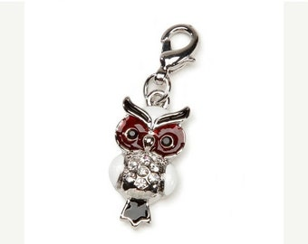 SALE Owl Charm With Lobster Claw Clasp Mix and Mingle Carded Charm