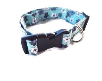 Blue Dog Collar, Large Boy Fabric Collar, Adjustable, Ready to Ship