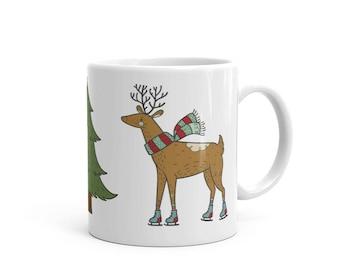 Woodlands Moose Ice Skating Mug