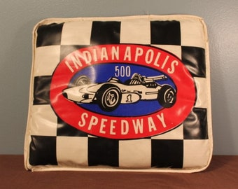 Vintage 1960's Indianapolis 500 Speedway Black and White Checkered Flag Race Car Seat Cushion