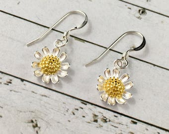Sterling Silver Sunflower Earrings, Dainty Earrings, Sunflower Jewelry, Sunflower Gift, Dainty Sunflower Charm, Bridesmaids Gifts