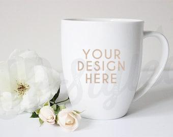Mug Stock Photo - White Rose Styled Photograph  - Product Photograph F153