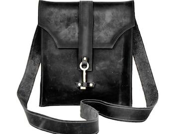 Black Leather Messenger Bag with Skeleton Key Antique Hardware