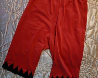 1950s 1960s Lingerie Red Long Shorts Slip Panties Pettipants Knickers Black Trim MEdium