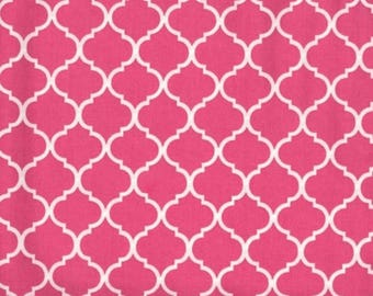 Mini Quatrefoil Fabric White on Hot Pink Flamingo 100% Cotton