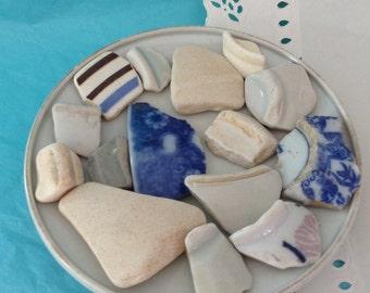 Sea Ceramics - Beach Pottery - 15  Ceramic shards - Hawaii  - Sea pottery mosaics - mosaic pieces - sea porcelain - Pottery Shards