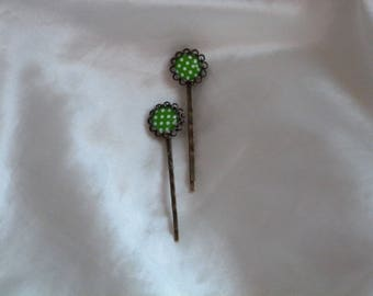 HAIR PINS WITH CABOCHON GINGHAM GREEN AND WHITE