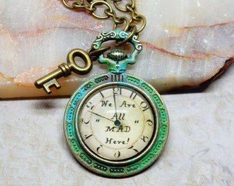Mad Hatter Pocket Watch Necklace, Mad Hatter, We Are All Mad Here Jewelry, Pocket Watch Pendant, Alice In Wonderland Necklace Pendant