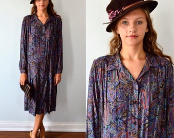 Vintage LD II Long Sleeved Button Front Paisley Print Drop Waist Dress, Vintage Dress, 1970s Dress, Casual Dress