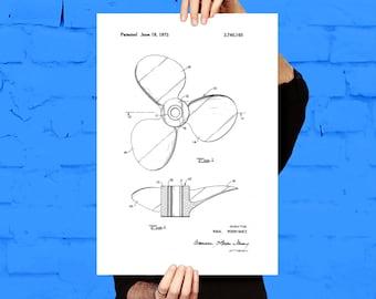 Boat Propeller Print, Boat Propeller Poster, Boat Patent, Boat Wall Art, Boat Propeller Blueprint, Boat Decor, Boat Art, Nautical Decor