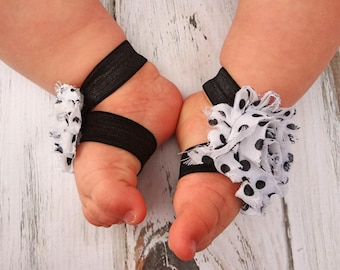 White with Black Polka Dotted Baby Barefoot Sandals  - Photography Prop - Baby Sandals - Newborn Sandals