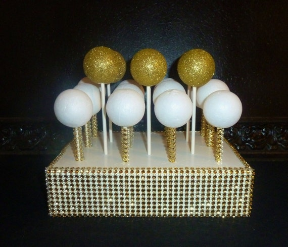 Gold Cake Pop Stand Bling Faux Rhinestone White Lollipop