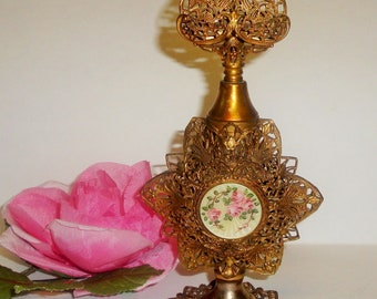 Antique ORMOLU Gold Gilt Filigree Pink Roses Enamel Perfume Scent Bottle Vanity Decor Collectible