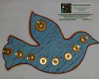 Dove - Silhouette Menorah - Fuchsia / Blue / Gold