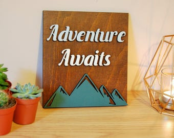 Adventure Awaits Wooden Sign, Wanderlust, House Sign, Travel Decor, Rustic Sign, Travel Gift, Housewarming
