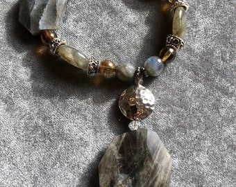 Labradorite pendant necklace with matching earrings and bracelets