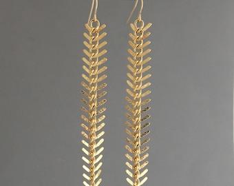 Gold Fishbone Earrings