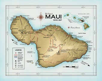 Island of maui hawaii map 18 x 24 print wall art the island of maui atlas inspired 11x14 road map altavistaventures Gallery