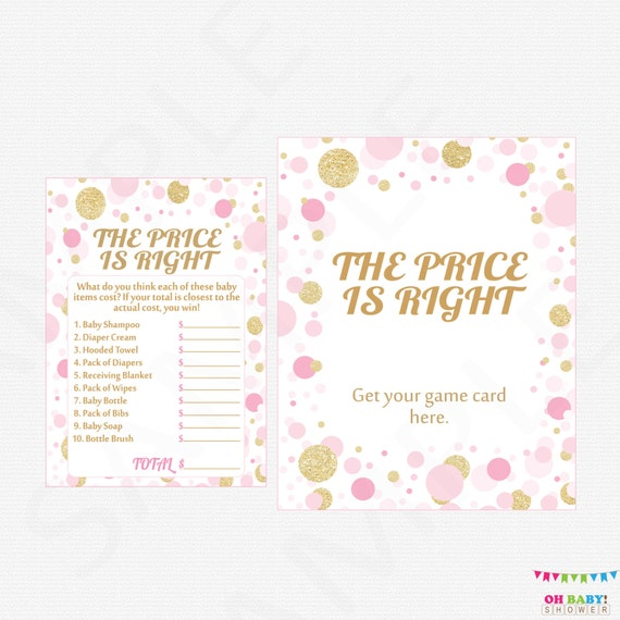 Pink And Gold Baby Shower Games The Price Is Right Baby Shower