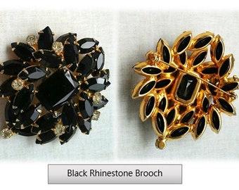 Black & Crystal Retro Brooch