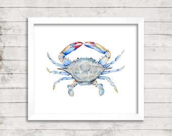 Crab Watercolor Print. Beach House Decor. Cottage Wall Art. Crab Painting. Coastal Art. Nautical Art.