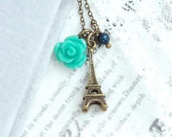 Bronze Eiffel Tower Necklace Victorian Necklace Paris Necklace Eiffel Tower Jewelry French Necklace
