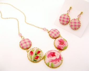 Textile Statement Button Necklace and Earring Set - Pink Gingham Linen, Pink Roses
