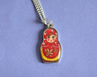 Russian Doll Silver Necklace,Russian Doll Necklace, Russian Doll,Matryoshka Necklace,Silver Matryoshka Charm,Secret Santa,Stocking Filler