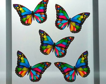 Stained Glass Butterfly Window Clings 5 Decal Suncatcher Cling Prints Glowing Decor Summer Spring Garden Decoration Faux Stained Glass