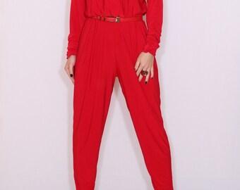 Batwing jumpsuit Long sleeve Red jumpsuit Long sleeve jumpsuit