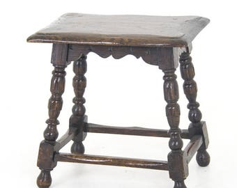 Antique Oak Stool | Coffers Stool | Oak Bench | Scotland, 1870 | B888