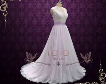 Purple Fairy tale Wedding Dress with Lace and Soft Tulle, Beach Wedding Dress, Whimsical Dress, Lavender Wedding Dress  | Sera
