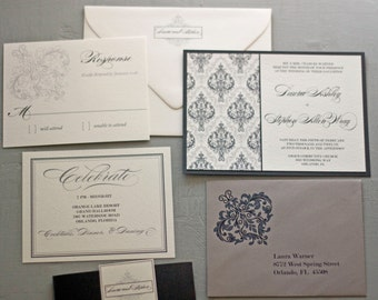 Black and Silver Damask Wedding Invitation by Forget Me Knot Paperie {SAMPLE}