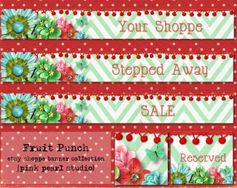 Fruit Punch Shabby Vintage and Retro Jewelry Aqua Red Chevron Etsy Shop Set, Includes Banner, Avatar, Reserved Listing, Away and Sale