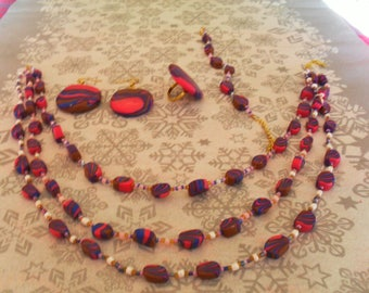 set (necklace, bracelet, ring and earrings) original, (purple, pink, Blue Navy and Brown)