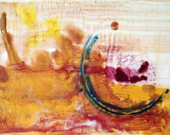"Original encaustic painting, Splashing Impressions, 5"" x 7.5"""