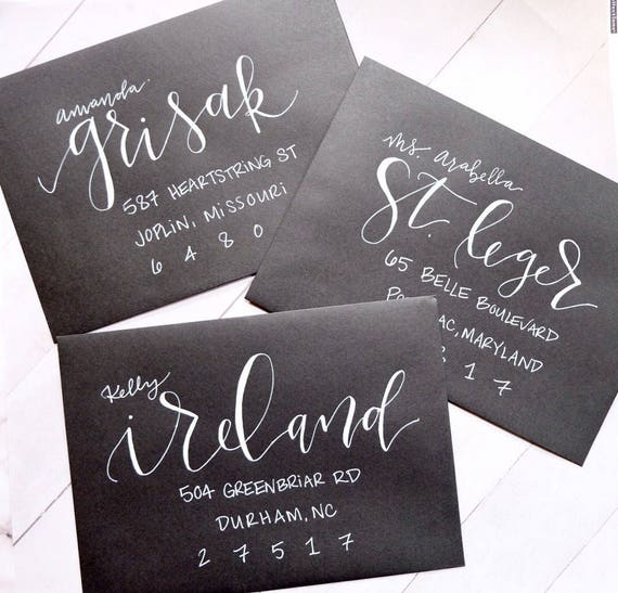 "Envelope Calligraphy for Wedding Invitations ""Asheville"" Style, White Ink"