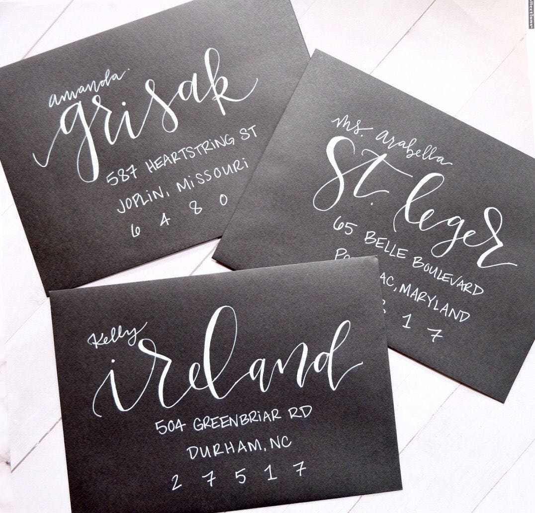 Envelope Calligraphy for Wedding Invitations Asheville Style, White Ink