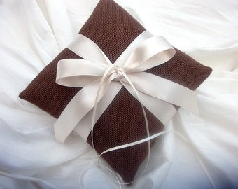 Ring Bearer Pillow/Cushion in Chocolate Brown Burlap and  Champagne Satin Ribbon Bow