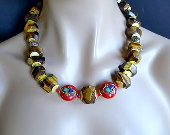 Spring Sale 15% Nepalese Chunky Tigers Eye Nugget Statement Necklace on Gold Gift for Her